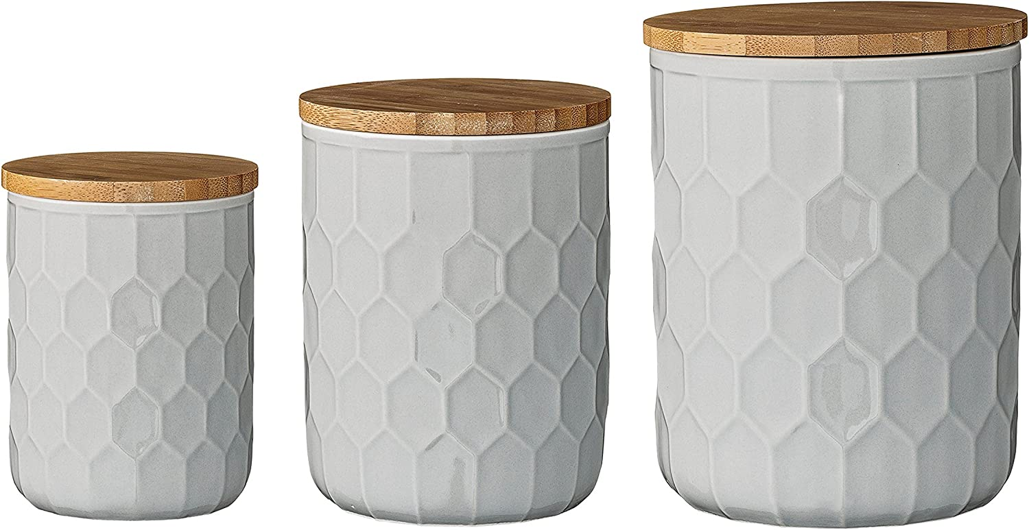Amazon Com Bloomingville A21700001 Set Of 3 White Stoneware Canisters With Bamboo Lids Home Kitchen