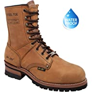 """AdTec 9"""" Super Logger Steel Toe Boots for Men Leather Goodyear Welt Construction & Utility Footwear"""