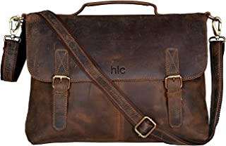 HLC 16 Inch Retro Buffalo Hunter Leather Laptop Messenger Bag Office Briefcase Travel bag