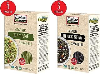 Explore Cuisine Organic Bean Spaghetti Variety Pack - Edamame Spaghetti (5 Boxes) & Black Bean Spaghetti (3 Boxes) - 8 Oz - High Protein, Gluten Free Pasta - 32 Total Servings