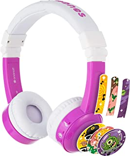 BuddyPhones Inflight, Volume-Limiting Kids Headphones, 3 Volume Settings of 75, 85 and 94 dB, Includes Travel Mode, Perfect for Airplanes, Trains and Cars, Built-in Audio Sharing Cable, Purple