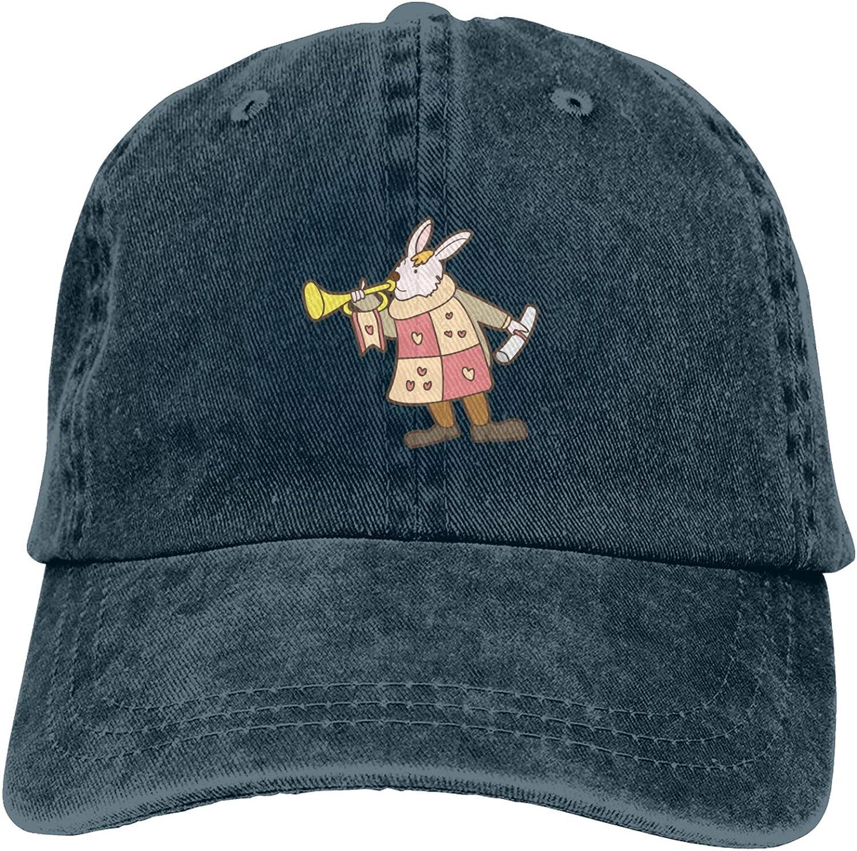 Rabbit Blowing Horn Unisex Adjustable Cowboy Hat Adult Cotton Baseball Cap