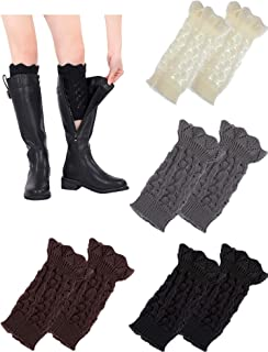 Boao 4 Pairs Knitted Leg Warmers Socks Hollow Crochet Boot Cuffs Short Boot Leg Sleeves for Women Favors, 4 Colors