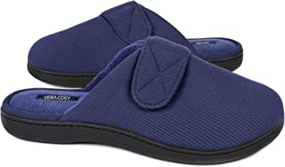 VeraCosy Men's Rib Knitted Breathable Classic Memory Foam Slippers with Hook and Loop