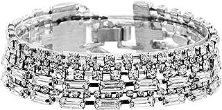 Steve Madden Silver Tone Rhinestone Layered Bangle Bracelet For Women, White, one size (SMB509831RH)