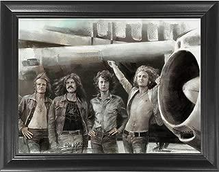 Led Zeppelin Classic Rock Band Framed 3D Lenticular Poster - Jimmy Page, Robert Plant, John Paul Jones & John Bonham - 14.5x18.5 - Life Like 3D Art Picture, Cool Art Deco, Unique Wall Art Décor