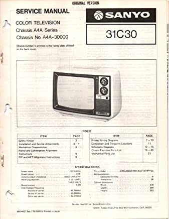 service manual for sanyo 31c30, 31c300 color television tv, chassis a4a  series, a4a