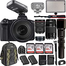 Canon EOS R Mirrorless DSLR w/RF 24-105mm f/4L USM Lens +EF 75-300mm+ RODELink Filmmaker Kit Wireless Omni Lavalier Microphone System + Professional Bi-Color LED Video Light & Accessories