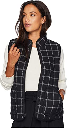 Windowpane Flannel Plaid Quilted Vest with Corduroy Trim