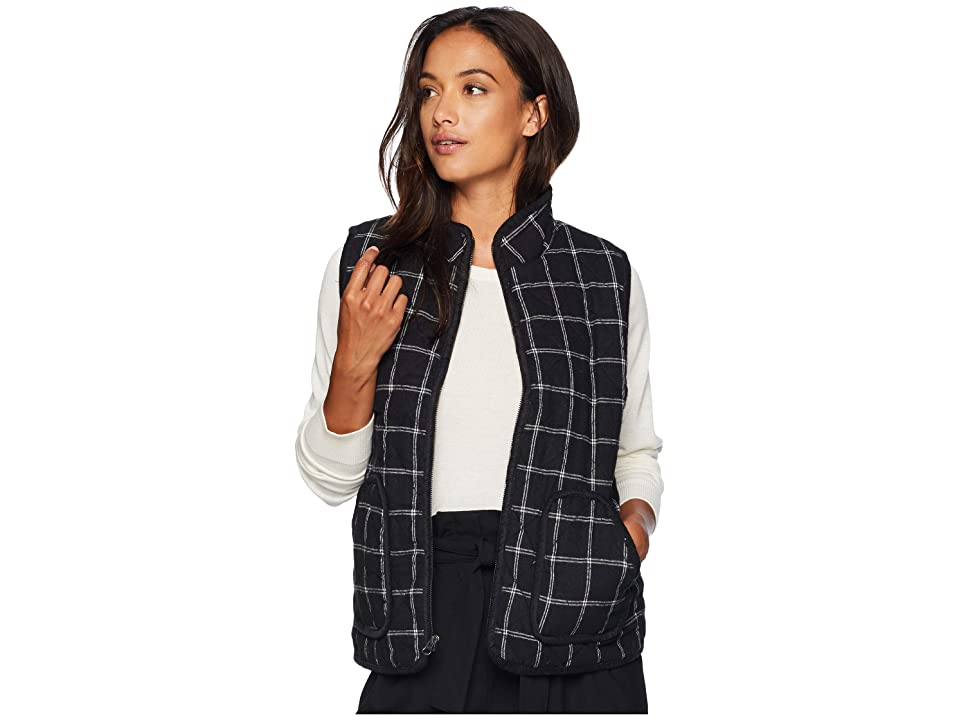 Mod-o-doc Windowpane Flannel Plaid Quilted Vest with Corduroy Trim (Black) Women
