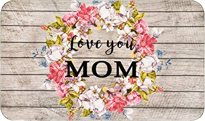 VERTKREA Mother's Day Area Rug, Happy Mother's Day Mat, Love You Mom Floor Mat, Floral Wreath Decorative Door Mat, Mother Gift Rug for Entryway Kitchen Bathroom Living Room Dining Room, 18 x 30 Inches
