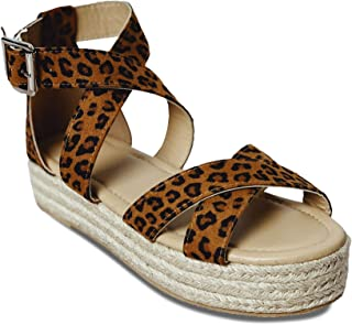 Coutgo Womens Strappy Flat Platform Espadrille Sandals Open Toe Cross Ankle Strap Summer Flats