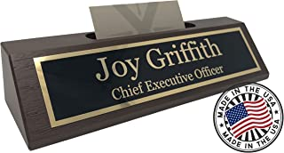Best Personalized Business Desk Name Plate with Card Holder - Made in USA (Walnut Wood) Review