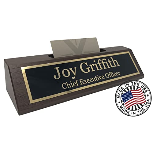 Personalized Business Desk Name Plate with Card Holder - Made in USA (Walnut Wood)