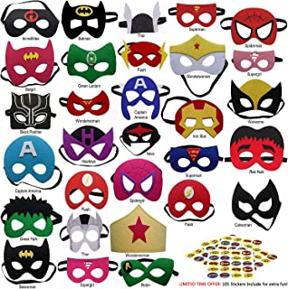 DANGSHAN Superhero Felt Masks 30pcs Plus 105 Stickers for Kids Party Cosplay Superhero Masks with Elastic Rope Party Favors Mask for Birthday Gifts
