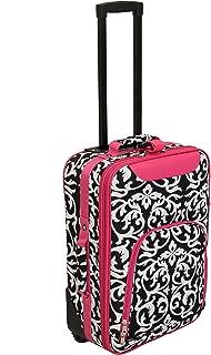 """World Traveler 20"""" Rolling Carry-on Luggage Suitcase, Fuchsia Trim Damask (Orange) - 816701-501-F-1"""