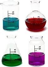 CKB Ltd Set Of 4 - Laboratory Chemistry Shot Glasses Drinks Shooters 50Ml - Science Themed Novelty Lab Shaped Beaker & Flask