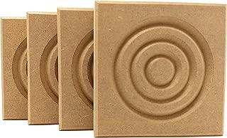 Set of 4: Modern Bullseye Rosette Blocks, Made in USA (3.5
