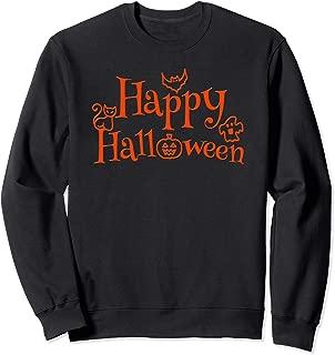 Happy Halloween with Ghost Bat Cat & Jack-O-Lantern Pumpkin Sweatshirt