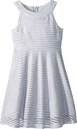 Shadow Stripe Mesh Dress (Big Kids)