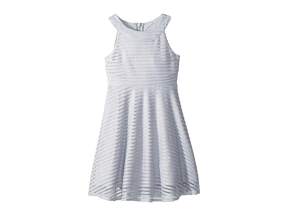 Us Angels Shadow Stripe Mesh Dress (Big Kids) (Light Blue) Girl