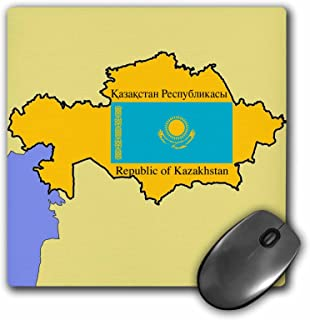 3dRose Map and Flag of Kazakhstan with Republic of Kazakhstan Printed in English and Russian Mouse Pad (mp_47325_1)