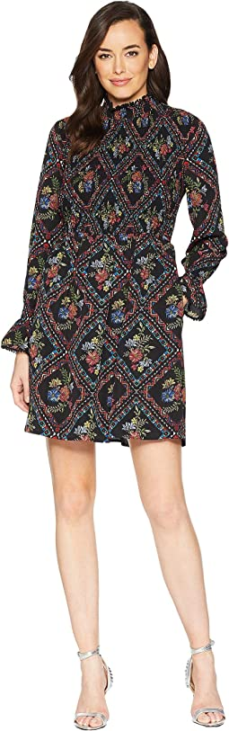 Long Sleeve Printed Smocked Shift Dress