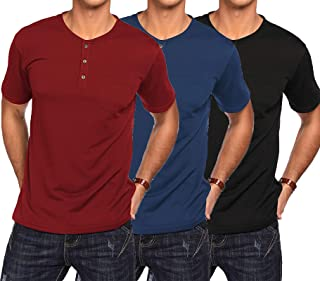 COOFANDY Men's 3Pack Henley Shirts Short Sleeve Casual Basic Summer Solid T Shirts with Pocket