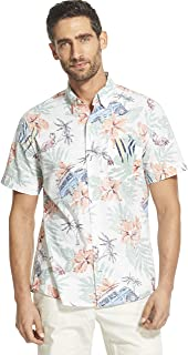 IZOD Men's Saltwater Dockside Chambray Short Sleeve Button Down Patterned Shirt