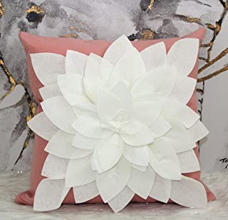 """Flower Pillow - Decorative Throw Pillow – 17"""" Square Flower Pillows – 3D Effect with Dual Colors – Soft & Comfortable Fabric – Elegant Handmade – Perfect for Home (Rose/Ivory, Case Only)"""