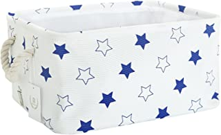 Storage Bin, Zonyon Rectangular Collapsible Linen Foldable Storage Container,Baby Basket,Hamper Organizer with Rope Handles for Boys,Girls,Kids,Toys,Office,Bedroom,Closet,Gift Basket,Blue Star