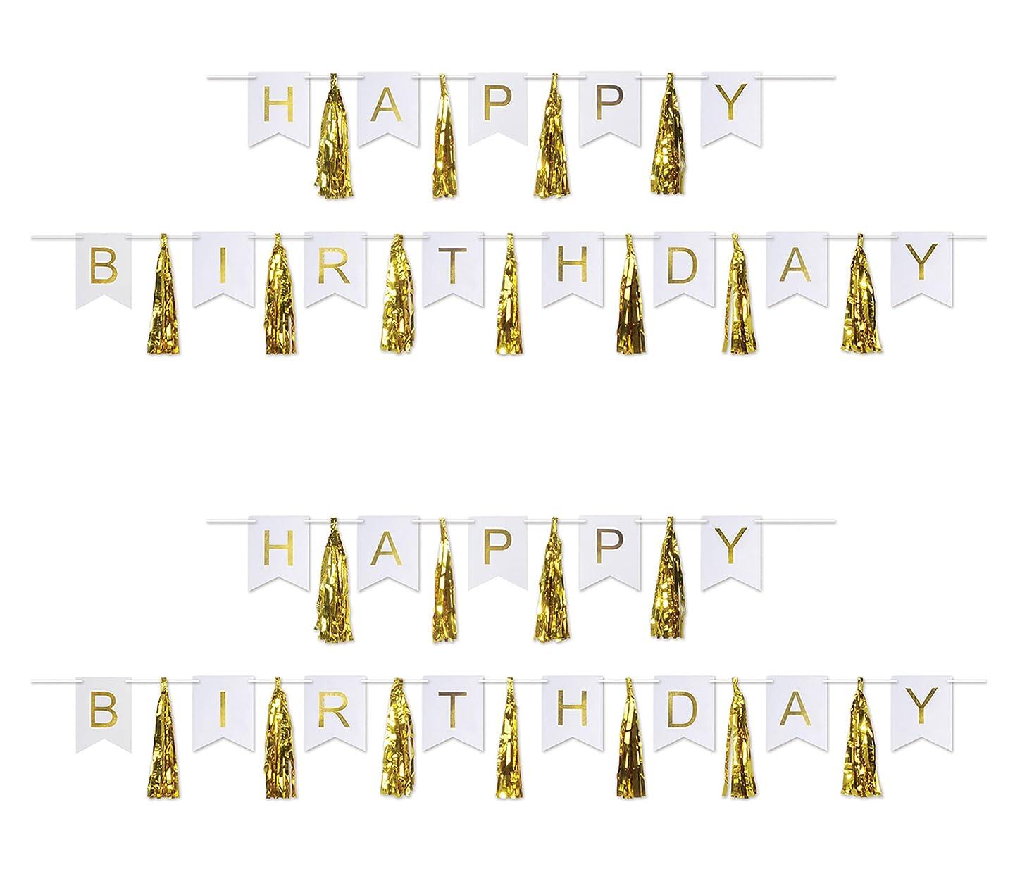 Beistle 59630 birthday tassel streamer Gold/White