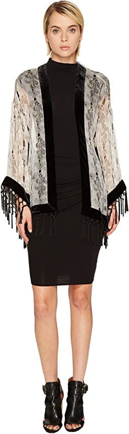Kimono with Velvet Stripe and Fringes