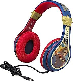 eKids Captain Marvel Kids Headphones, Adjustable Headband, Stereo Sound, 3.5Mm Jack, Wired Headphones for Kids, Tangle-Free, Volume Control, Childrens Headphones Over Ear for School Home, Travel