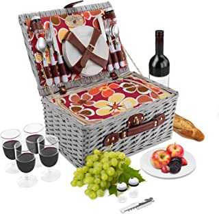 Wicker Picnic Basket Set   4 Person Deluxe Vintage Style Woven Willow Picnic Hamper   Built-in Cooler   Ceramic Plates, Stainless Steel Silverware, Wine Glasses, S/P Shakers, Bottle Opener (White)