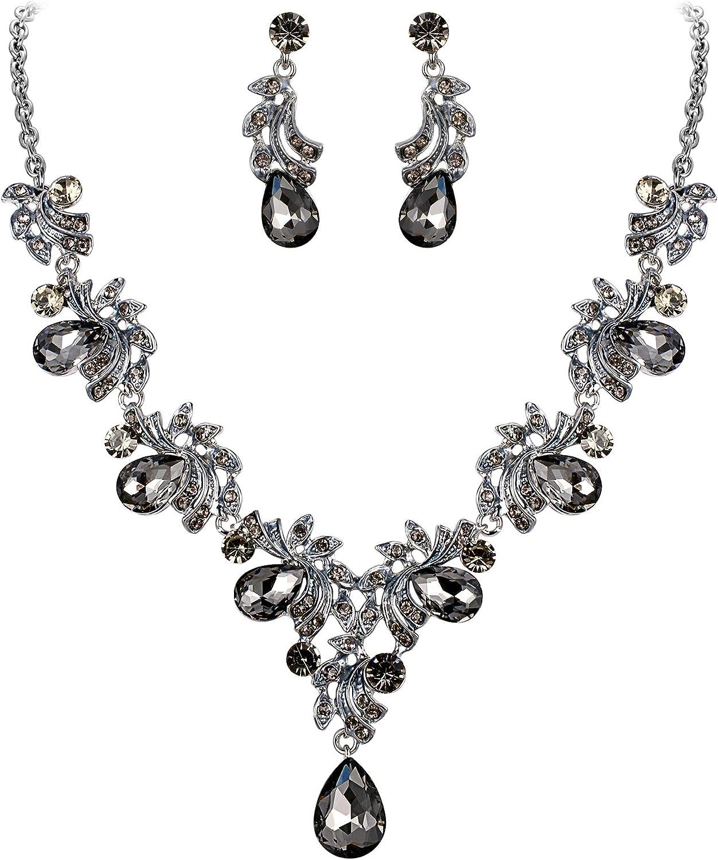 BriLove Women's Wedding Bridal Crystal Teardrop Filigree Leaf Twig Enamel Statement Necklace Dangle Earrings Set