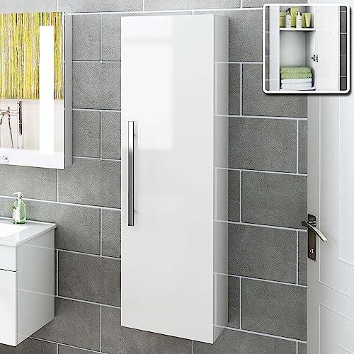 1200 mm Tall White Bathroom Furniture Wall Hung Modern Cupboard Cabinet  Storage Unit MF822. Bathroom Wall Cabinets  Amazon co uk