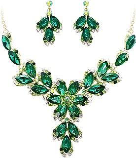 Women's Wedding Bridal Crystal Marquise Leaf Petal Flower Statement Necklace Dangle Earrings Set
