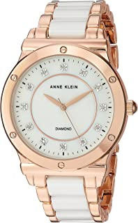 Women's AK/2902WTRG Diamond-Accented Rose Gold-Tone and White Ceramic Bracelet Watch
