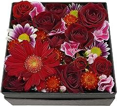 BOXアレンジメント・スクエアー・レッド【生花アレンジメント・誕生日・記念日・御祝・母の日など】