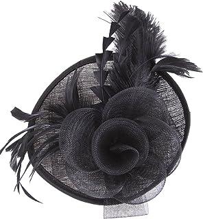 Vijiv Women Vintage Derby Fascinator Hat Pillbox Headband Feather Cocktail Tea Party