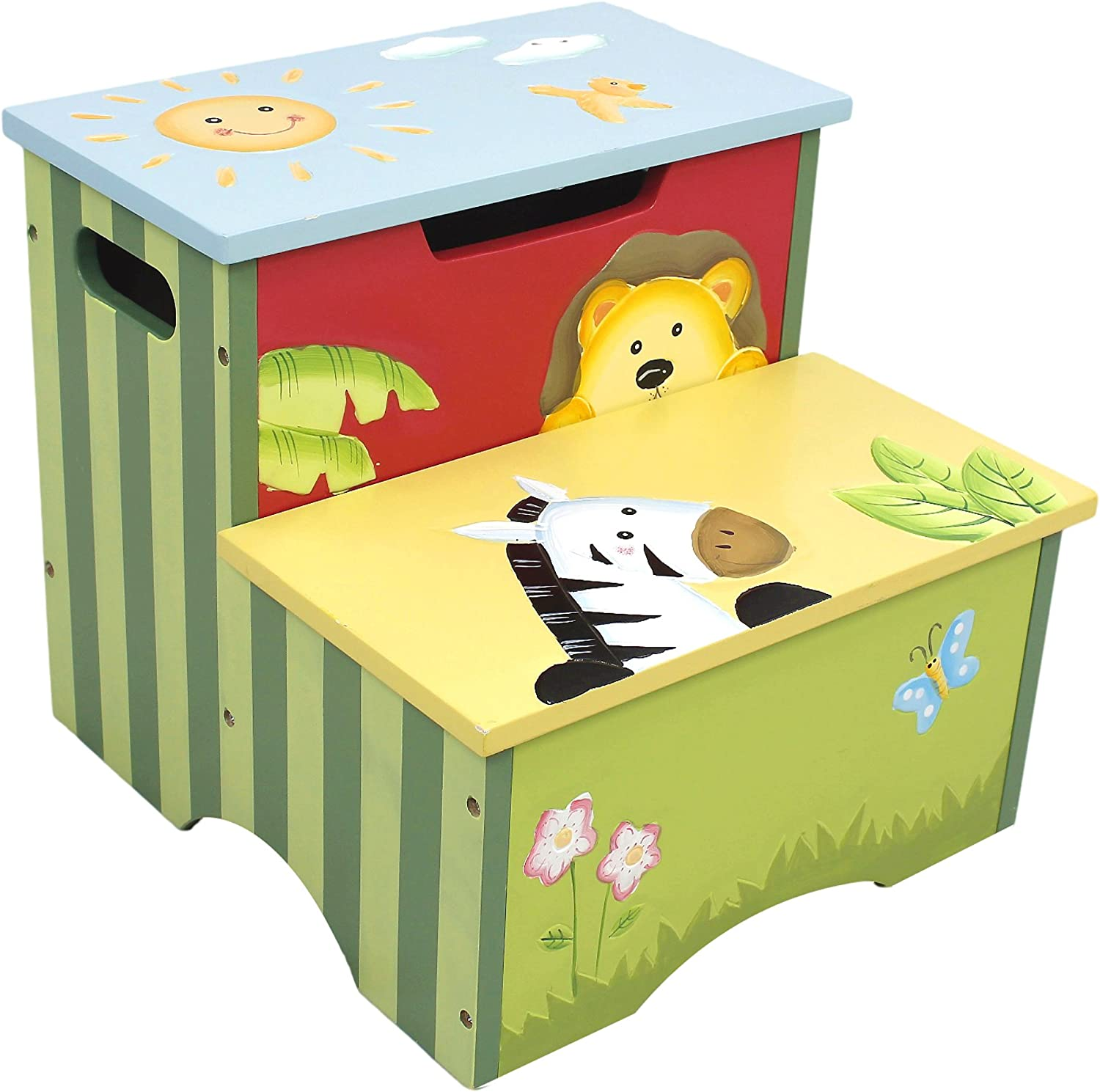 Fantasy Fields - Sunny Safari Animals Thematic Kids Wooden Step Stool with Storage   Imagination Inspiring Hand Crafted & Hand Painted Details   Non-Toxic, Lead Free Water-Based Paint