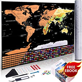 Travel Map GivemeJoy Easy to Scratch Off Black World Map with Flags,The Best Gift for Travelers,Full Accessories,Free Travel Guides,32 1/8 x 23 1/4 inch Global