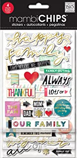 me & my BIG ideas mambiChips Chipboard Stickers - Happy Family Theme - Metallic & Multi-Color Stickers - Great for Family Projects, Scrapbooks & Albums - 4 Sheets