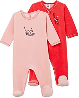 Petit Bateau Baby Girls' Velour Sleepsuit-Footies - 2-Piece Set HOT Pink-Pink Velour Style 51940-00 Sizes 3-9 Months