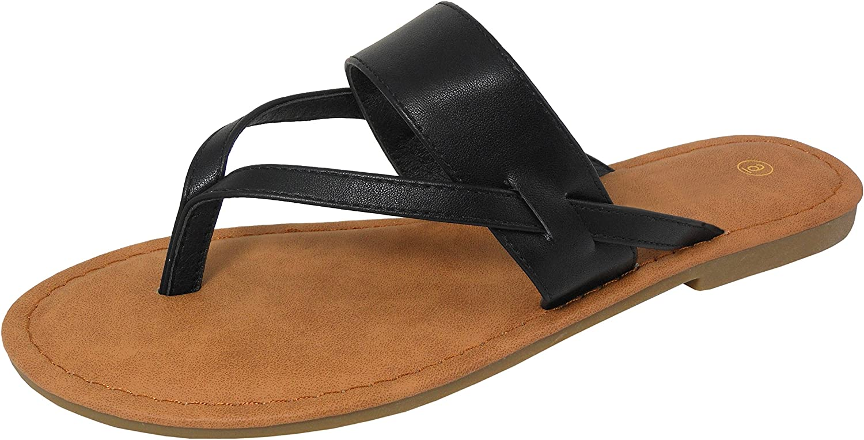 Cambridge Select Women's Thong Slip-On Flip-Flop Strappy Flat Slide Sandal