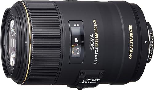 Sigma 4258955 105mm f/2.8 Macro EX DG OS HSM Optical Lens for Nikon, Black