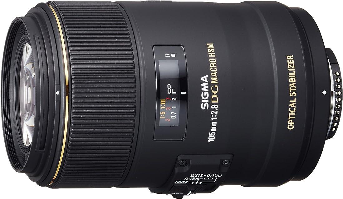Sigma 105mm F2.8 EX DG OS HSM - Objetivo para Nikon (Distancia Focal Fija 105mm Apertura f/2.8-22 diámetro 79mm) Negro