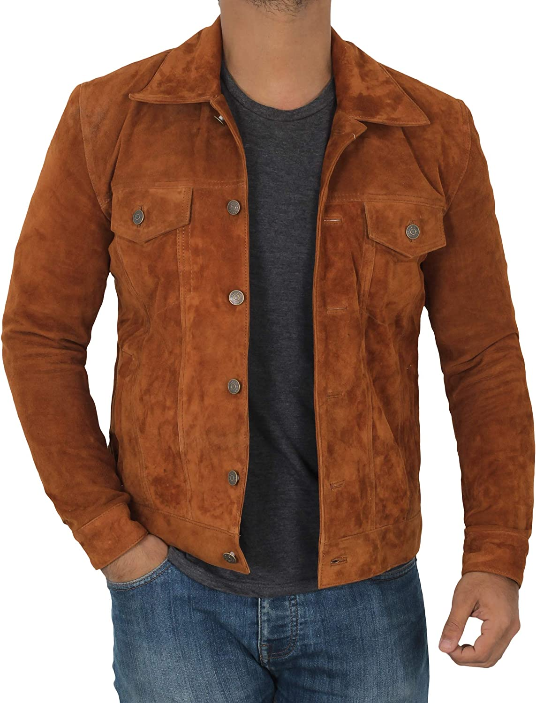 Decrum Mens Suede Jacket - Genuine Leather Suede Jacket for Men