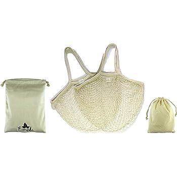 Enowdo Pack 2 Bolsa de Malla Red + 2 Sacos de algodón con Cuerda para Compra Playa o Almacenaje con Asas Largas Reutilizables, Lavables y Ecológicas: Amazon.es: Hogar